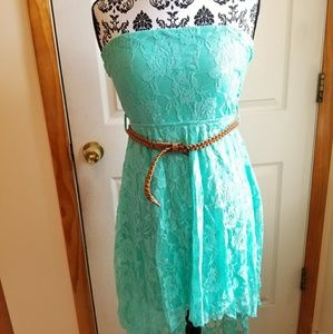 Tiffany Blue Lace Tube High Low Dress with Belt
